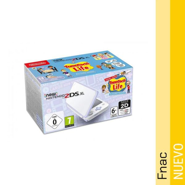 New Nintendo 2DS XL Blanco - Lavanda con juego Tomodachi