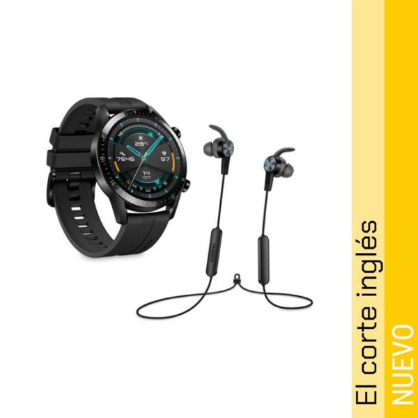 Smartwatch Huawei Watch GT 2 Sport 46 mm Negro mate y Auriculares AM61