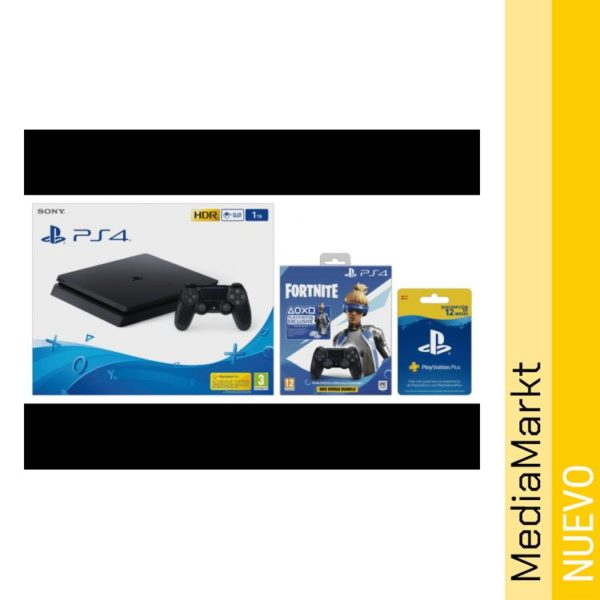 Consola - PS4 Slim 1TB con 2 Mandos y Tarjeta 12 meses PS Plus