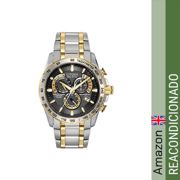 Citizen Men's Eco-Drive Chronograph Watch with a Black Dial and a Two Tone Stainless Steel Bracelet AT4004-52E